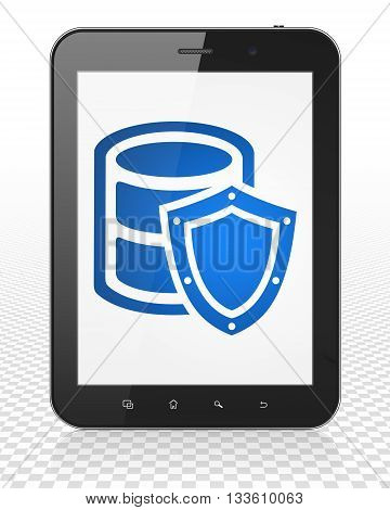 Database concept: Tablet Pc Computer with blue Database With Shield icon on display, 3D rendering