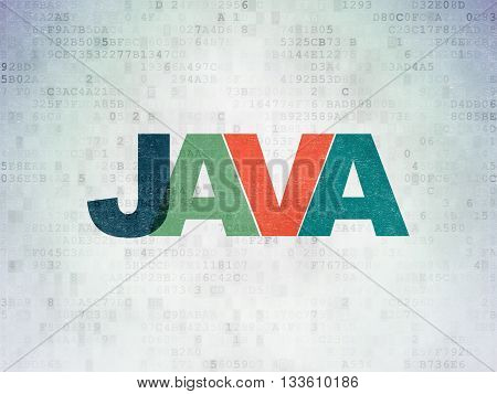 Programming concept: Painted multicolor text Java on Digital Data Paper background
