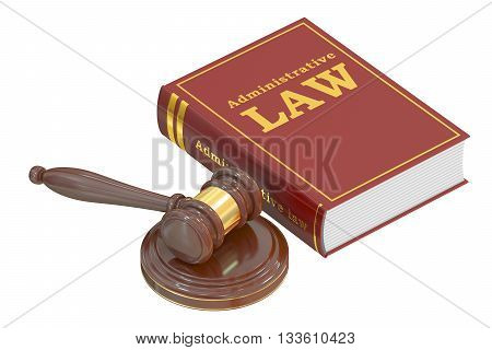 Administrative Law concept with gavel. 3D rendering