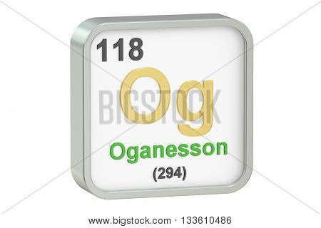 Oganesson chemical element isolated on white background 3D rendering