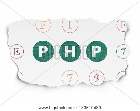Software concept: Painted green text Php on Torn Paper background with Scheme Of Hexadecimal Code