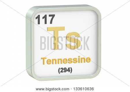 Tennessine chemical element isolated on white background 3D rendering
