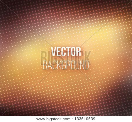 Brown blurred background with halftone effect. Brown gradient. Dotted pattern. Shiny abstract background. Smooth brown background. Vector illustration.