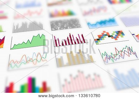 Variety of colorful infographics samples for design of various information and data, perspective view and shallow depth of field. Examples of graphs