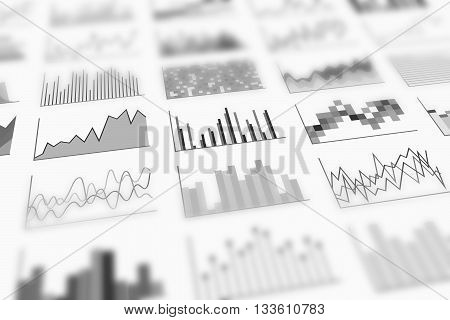 Variety of infographics samples for design of various information and data perspective view and shallow depth of field. Examples of graphs. Black-and-white image