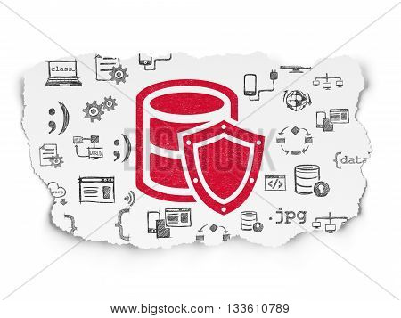 Database concept: Painted red Database With Shield icon on Torn Paper background with  Hand Drawn Programming Icons