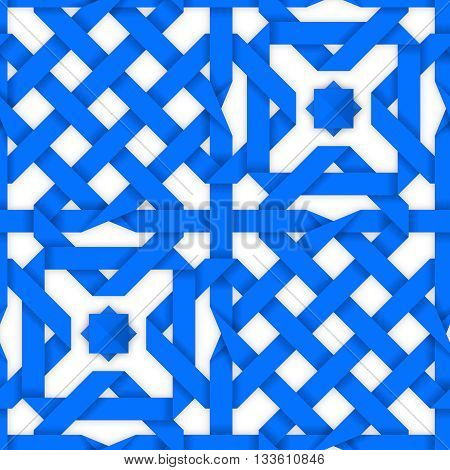 Blue crossed ribbons ornament. Geometric seamless pattern with crossed strips. Vector illustration. Blue tape 3d style. Colorful abstract intertwined seamless background.