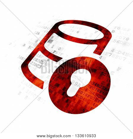 Software concept: Pixelated red Database With Lock icon on Digital background