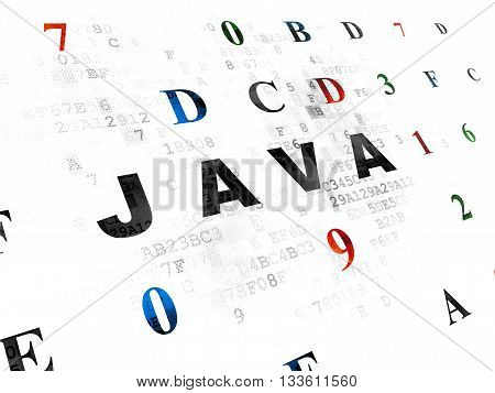 Database concept: Pixelated black text Java on Digital wall background with Hexadecimal Code