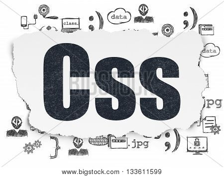 Programming concept: Painted black text Css on Torn Paper background with  Hand Drawn Programming Icons