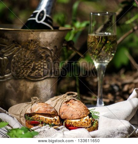 Picnic on the grass - sandwiches a glass of champagne a champagne bucket with a bottle