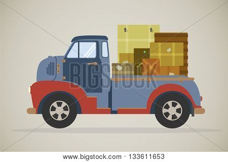 retro illustration of a vintage delivery truck with parcels, viewed from the side. Flat design commercial vehicle, side view