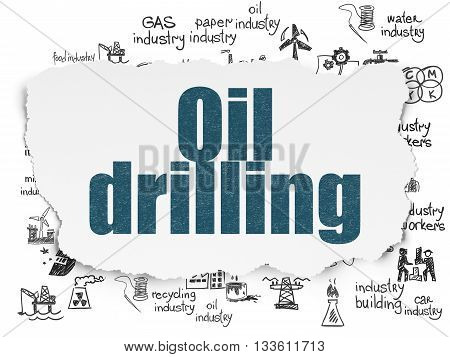 Industry concept: Painted blue text Oil Drilling on Torn Paper background with  Hand Drawn Industry Icons