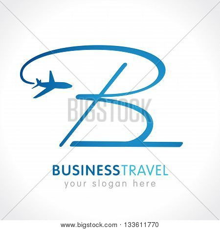Airline business travel logo design with letter