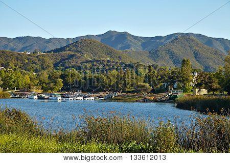 Beautiful view of Malibu lake from Malibu Creek State Park, California, USA