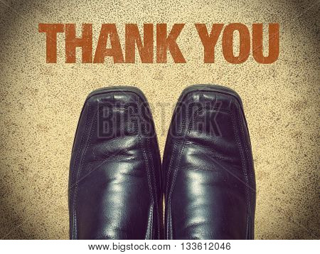 Black men shoes with word Thank you