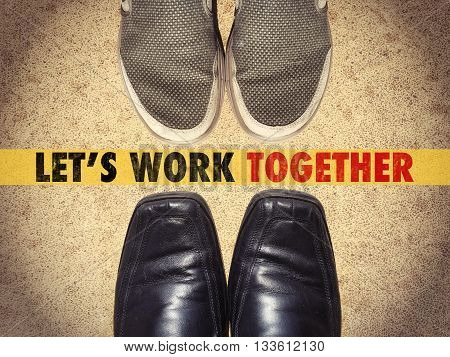 Men shoes with words Let's work together