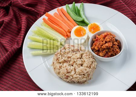Food series : Spicy Mince Pork with Chili Paste and steamed rice, Thai foods, northern style