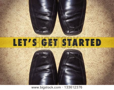 Black men shoes with words Let's get started