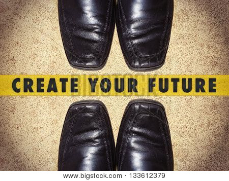 Black men shoes with words Create your future