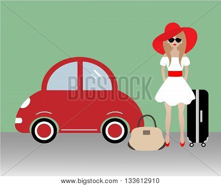 The lady goes on vacation. Vector illustration. There is a woman in a red hat near the red car on the picture