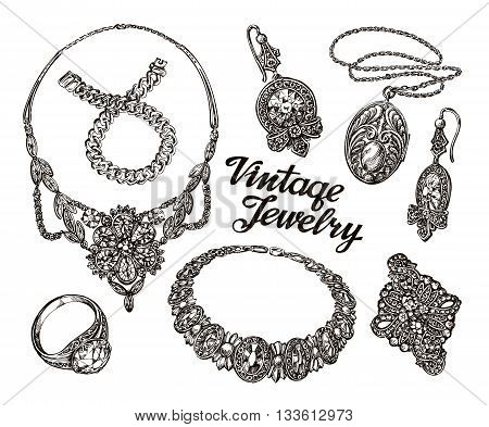 Collection vintage Jewelry. Gold and Precious Stones. Hand drawn sketches vector illustration
