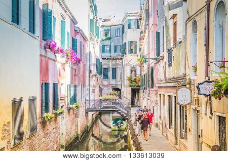 Venice Italy - Jun 11 2014: Venice, Italy. Venice Is A City In Northeastern Italy Sited On A Group O