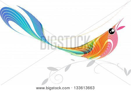 Singing bird on a white background, vector art