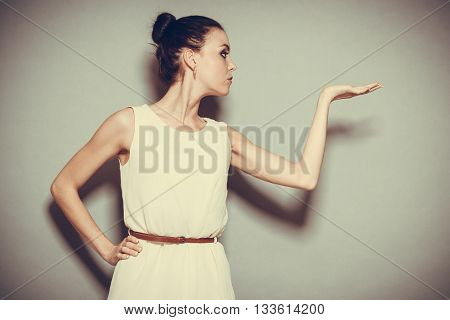 Glamour Girl In Bright Dress On Gray