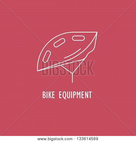 Modern Illustration of bicycle helmet. White outline hard hat isolated on a red background. For use as design element or logo for Bike Shop. Sport Equipment made in trendy thin line style vector.