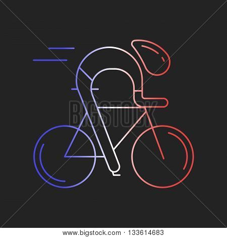 Modern Illustration of cyclist. Outline bicyclist in French flag tricolor isolated on dark background. For use as design element, logo, sticker. Bicycle racer made in trendy thin line style vector.
