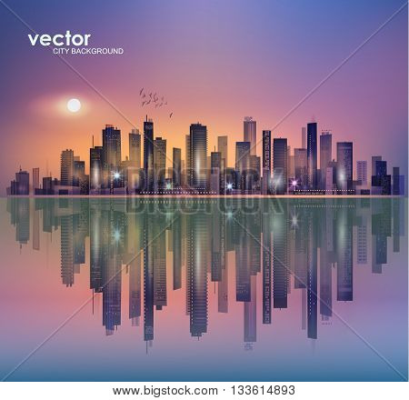 Urban Night Cityscape In Moonlight Or Sunset, With Reflection In Water