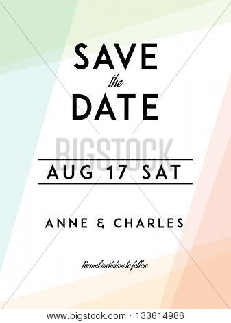 Modern Wedding Save the Date template. Modern design. Save the Date design with modern abstract background. Tradition decoration for wedding. Vector illustration