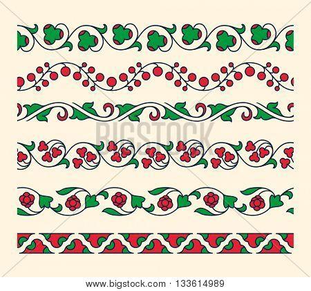 Decorative ornamental seamless vector borders. Vintage tape ornament. Set of floral tape ornaments. Vector illustrator