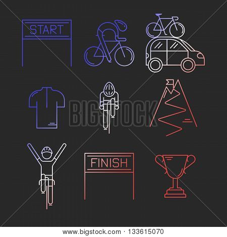 Set of 9 Bicycle Race modern linear icons. Outline templates of cycling competition in French flag tricolor isolated on dark background. Bicycling elements made in trendy thin line style vector.