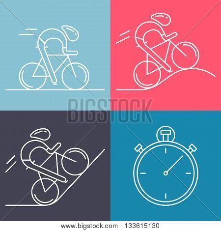 Set of 4 linear icons of cycling race stage types. White outline infographics templates isolated on colorful background. Bicyclists and stopwatch made in trendy thin line style vector.