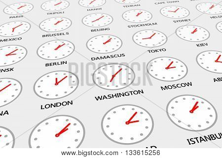Round clocks are showing different time for different cities around the world. Different time and uniform geopolitical issues concept