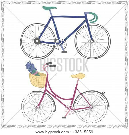 Set of two hand drawn bicycles. Pink City Bike and Blue Racing Bike isolated on white background. Cute bright colorful cycles in a decorative frame.