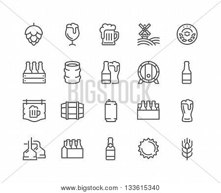 Simple Set of Beer Related Vector Line Icons. Contains such Icons as Barrel, Six-pack, Keg, Signboard, Mug, and more. Editable Stroke. 48x48 Pixel Perfect.