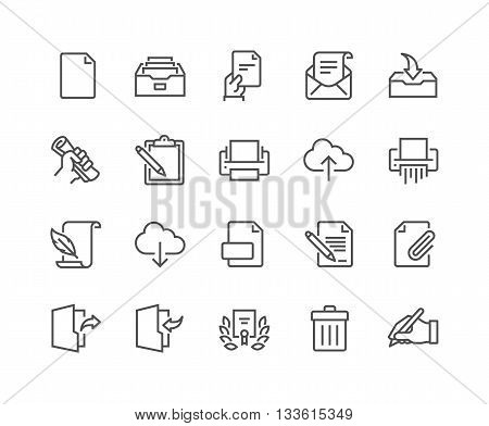 Simple Set of Document Related Vector Line Icons. Contains such Icons as Printer, Shredder, Legal Document, Archive, Handwriting and more. Editable Stroke. 48x48 Pixel Perfect.