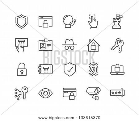 Simple Set of Security Related Vector Line Icons. Contains such Icons as Finger Print, Electronic key, Spy, Password, Alarm and more. Editable Stroke. 48x48 Pixel Perfect.