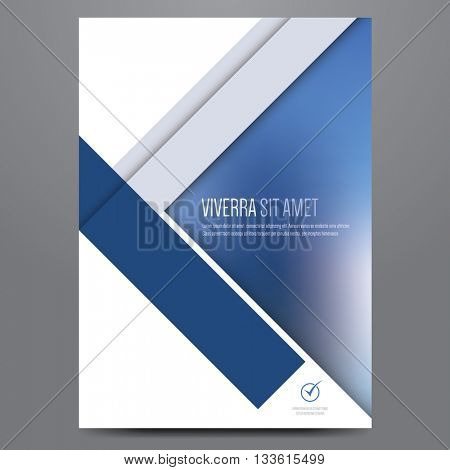 Geometric business brochure, flyer, poster, annual report, magazine cover vector template. Modern blue corporate flat design.