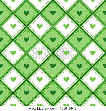 A seamless pattern with rhombs and hearts. Vector background template.
