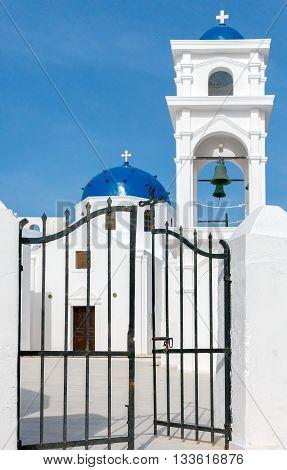 Traditional Greek Christian church in the town Fira. Greece. Santorini.