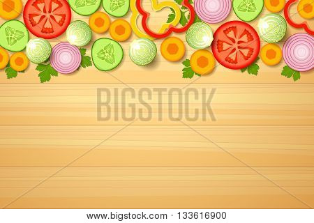 A variety of sliced vegetables is lying together at the top part on wooden background. Assorted vegetables for salad. Raw food diet and vegetarian diet