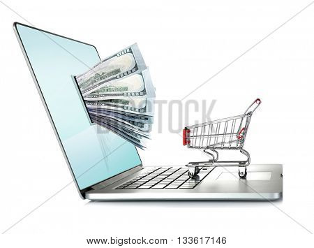 Online shopping concept. Laptop with money from monitor screen and small shopping cart isolated on white background