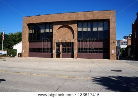 PLAINFIELD, ILLINOIS / UNITED STATES - SEPTEMBER 20, 2015: The former Plainfield Fire Department building sits vacant in downtown Plainfield.