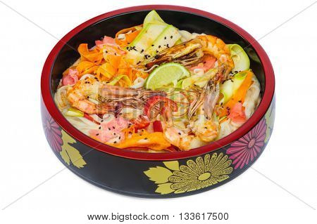 tagliatelle pasta with sea food in black bowl isolated on white