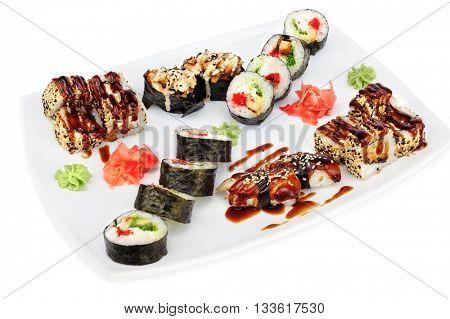 Maki and uramaki sushi set of rolls isolated on white