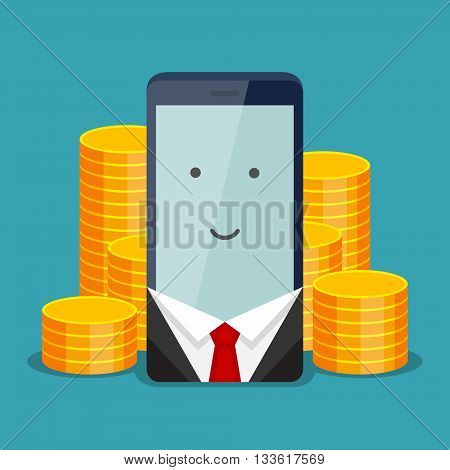 Modern phone for businessman and gold coins behind it on blue background. The positive account and service payment